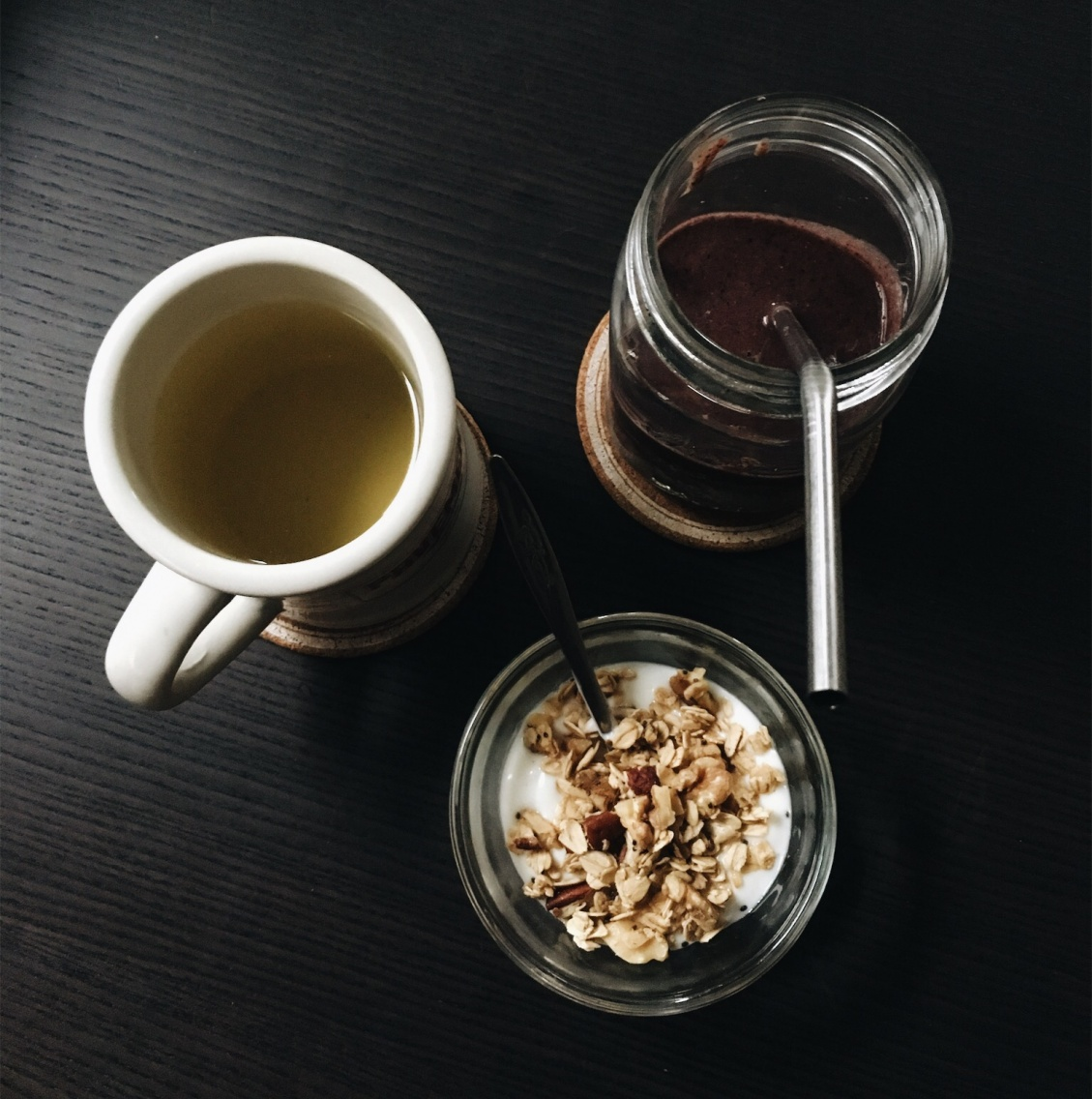 Good Morning Vanilla Yoghurt Granola Fruit Vegetable Smoothie Green Tea Portland Or Nadiapeer Vsco