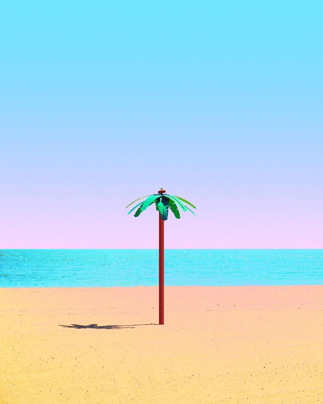 Sunset Beach Nature Palmtree Palmtrees California Sea Ocean Gradient Pink Blue Yellow Orange Symmetry Pastel Pastels Aesthetic Color Crump Vsco