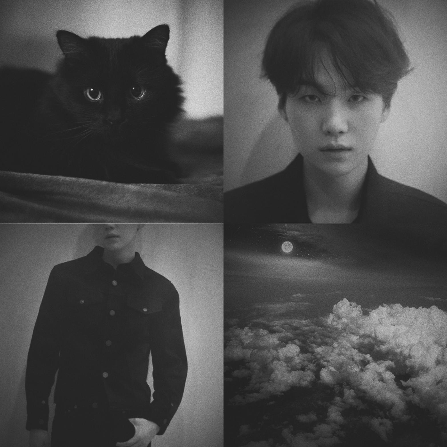 Min Yoongi B W Aesthetic Edit By Me Bts Minyoongi Greyscale Blackandwhite Cat Clouds Moon Yoonji Collages Vsco