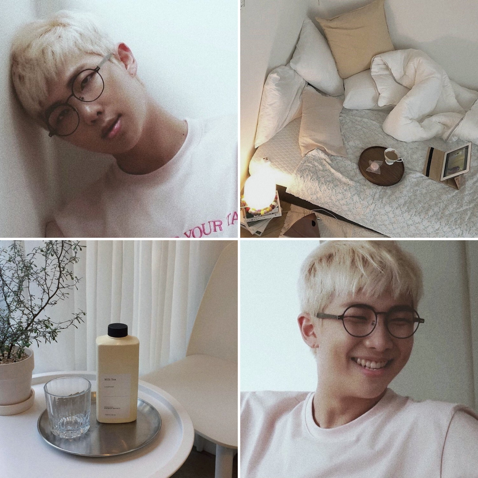 Namjoon Soft Aesthetic Edit By Me Bts Namjoon Rm Aesthetic Collage Edit Soft White Beige Fashion Photography Food Cute Yoonji Collages Vsco