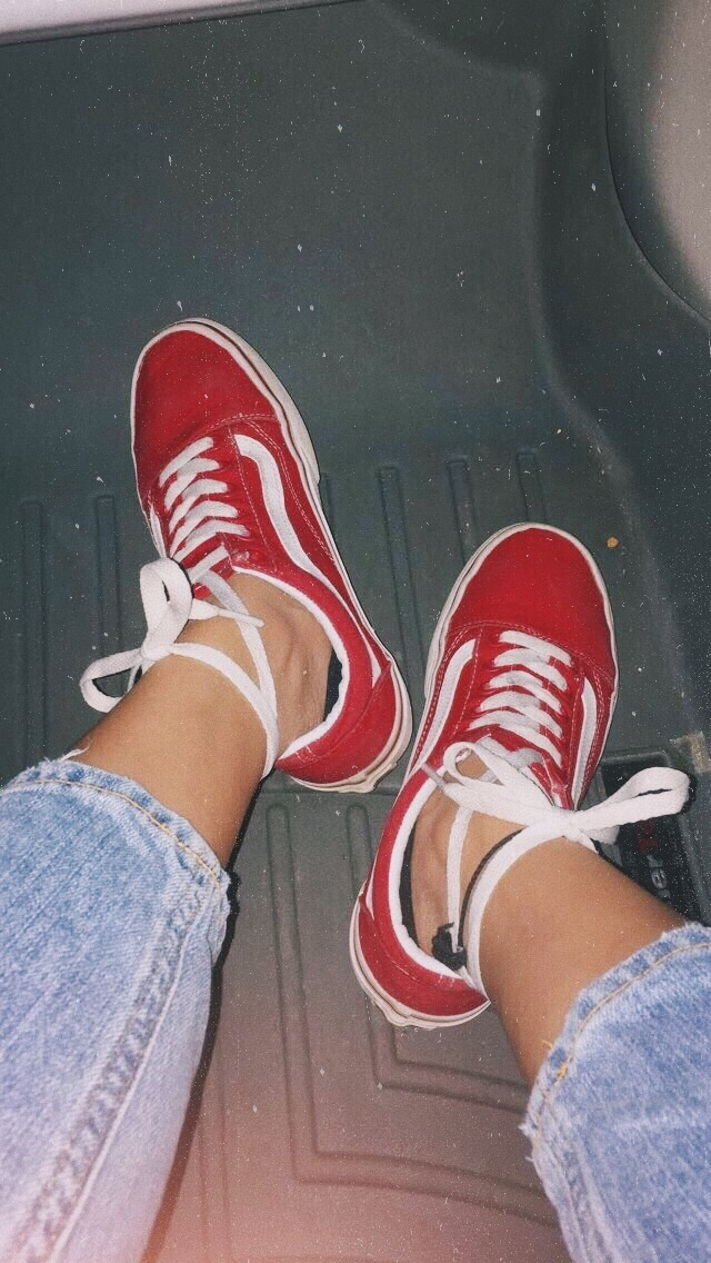 shoes #sneakers #vans #red #denim #nebi