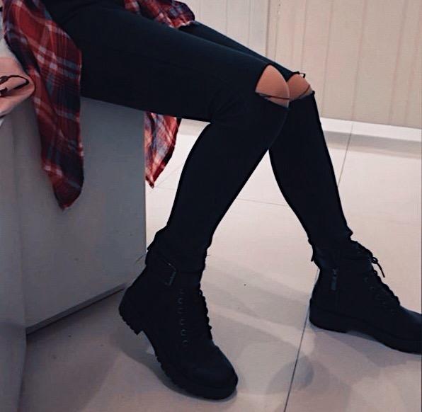 rippedjeans boots badass black tumblr cool rebel